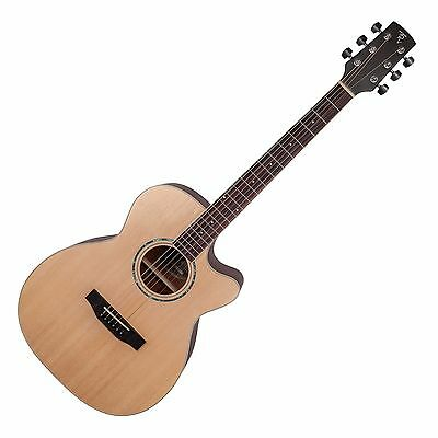 Timberidge Solid Spruce Top Small Body Acoustic-Electric Cutaway Guitar + Case