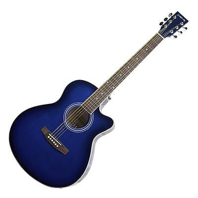 New Sanchez Acoustic Electric Small Body Guitar Steel Strings Cutaway Beginner