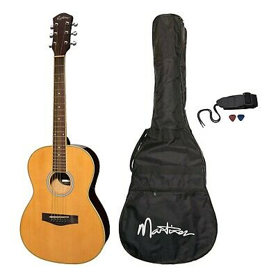 New Martinez Steel-String Small-Body Folk Acoustic Guitar Pack (Natural Gloss)