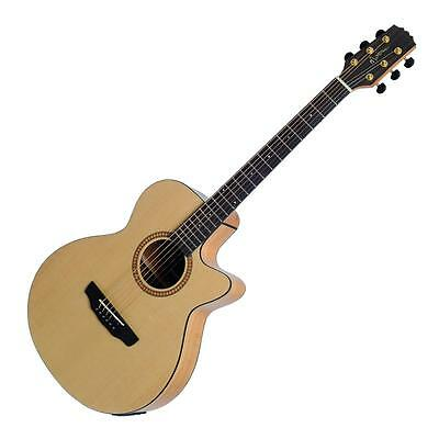 Martinez Solid Spruce Top Small Body Acoustic-Electric Cutaway Guitar + Gig Bag