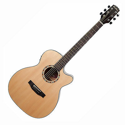 Martinez Solid Spruce Top Small Body Acoustic-Electric Guitar + Hard Case