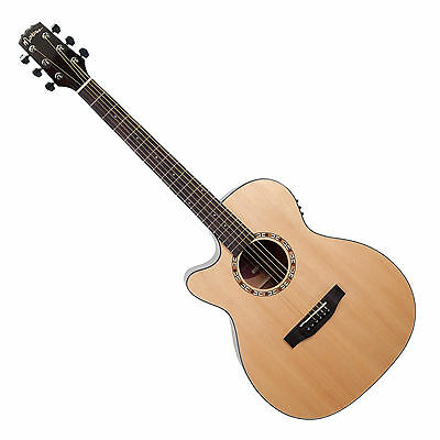 Martinez Left-Handed Solid Spruce Top Small Body Acoustic-Electric Guitar + Case