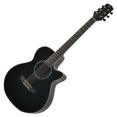 New Timberidge Small-Body Acoustic-Electric Cutaway Guitar with Hard Case Black