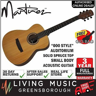 Martinez Solid Spruce Top Small Body Acoustic Guitar + Gig Bag