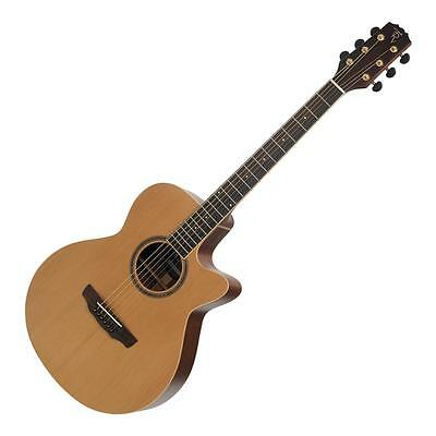 Timberidge Solid Cedar Top Small Body Acoustic-Electric Cutaway Guitar + Case