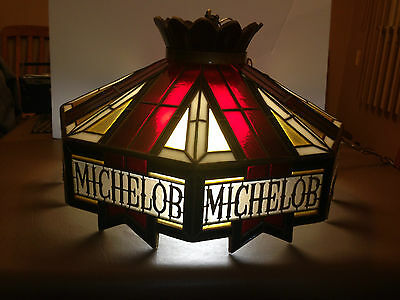 """Vintage Michelob Pool Table/Bar Hanging Light """"Stained Glass"""" Look"""
