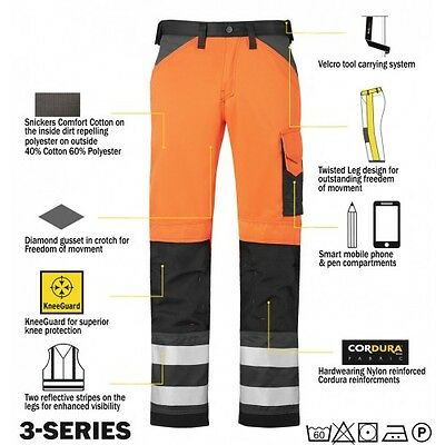 Snickers 3333 High Visibility Work Trousers Snickers Direct Orange