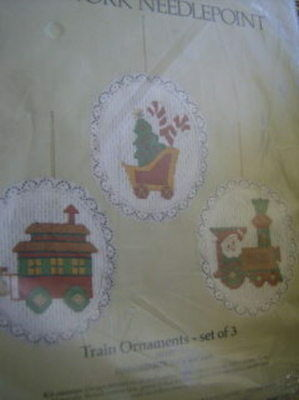 Train Ornaments Open Work Needlepoint Kit-3 of 3.5x4.5 Inches-Something Special