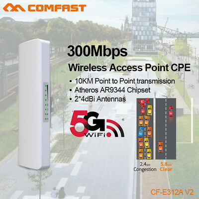 300Mbps 5GHz High Power Outdoor Wireless Access Point WiFi AP Repeater CPE POE