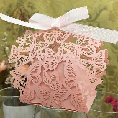 50pcs Butterfly Pearlescent Laser Cut With Ribbon Cake Candy Gift Wedding Boxes