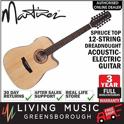 Martinez Natural Series 12-String Acoustic-Electric Dreadnought Guitar Spruce