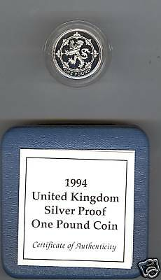 1994 Boxed Standard Silver Proof £1 Scotland Lion