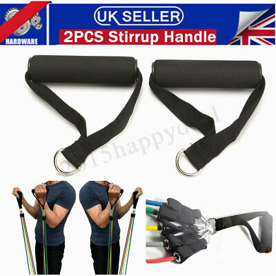 2x Black Stirrup Handle Foam Grip With D Ring Cable Attachment Fitness Training