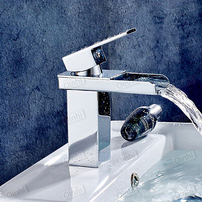 Waterfall Basin Sink Tap Square Mixer Chrome Mono Bloc Luxury Bathroom Cloakroom