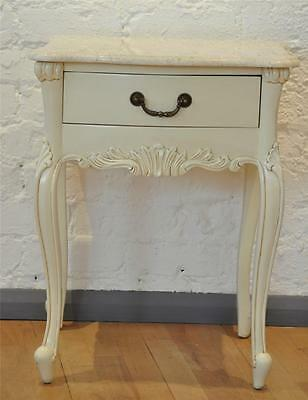 Mahogany French Ornate Shabby Chic Cream White Ivory Bedside Marble Side Table