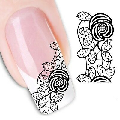 Nail Art Sticker Water Decals Transfer Stickers Black Lace Rose (DX1343)