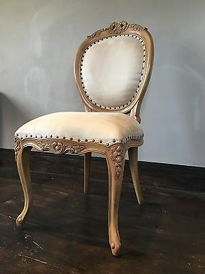 Hard Wood Shabby Chic Beige Stone Honey Oak Finish  French Diner Armchair Chair
