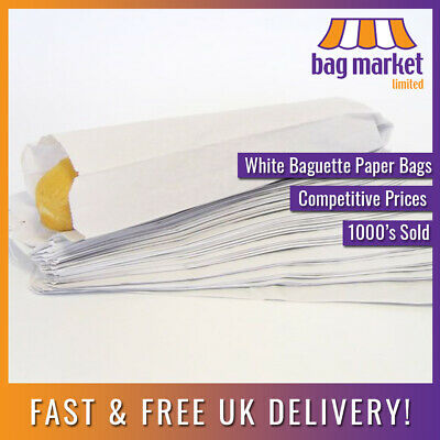 "White 4"" x 6"" x 14""/26"" Paper Baguette Bags! 