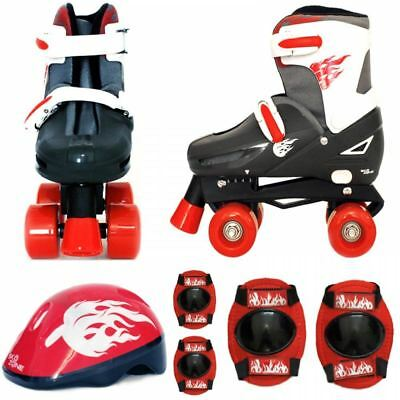 Boys Red Black Quad Skates Kids Padded Roller Boots Safety Pads Helmet Skate Set