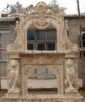 Large Stately Marble Fireplace Mantel and Overmantel, Features Two Magnificent H