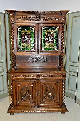 BEAUTIFUL Antique French Cabinet Stunning Leaded Glass Carved Wildlife