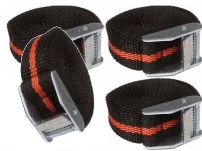 Pack of 4 Luggage Tie Down Strap Belt Metal Buckle 25mmX2.5Metres Nylon