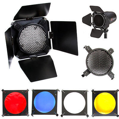 Universal Barndoor, Honeycomb Grid + 4 Colour Filter Set - Small Flash Gel Light