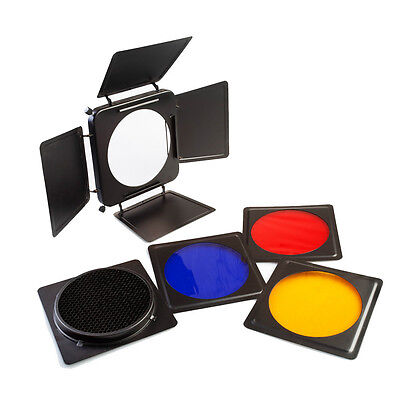 Universal Barndoor Large, Honeycomb Grid + 4 Colour Filter Set - Flash Gel Light