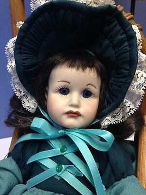 """Reproduction Doll, Great Condition 12"""", Beautifully Dressed- Blue Eyed Brunette"""