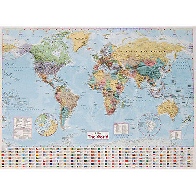 Collins World Wall Map - 40inch x 54inch, Books, Brand New
