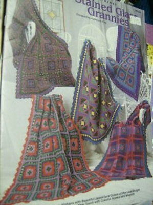 Stained Glass Grannies Crochet Afghans Booklet NEW