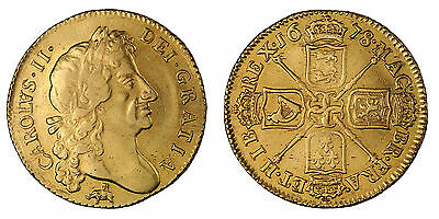 Charles II 1678 guinea elephant & castle gold coin of Great Britain