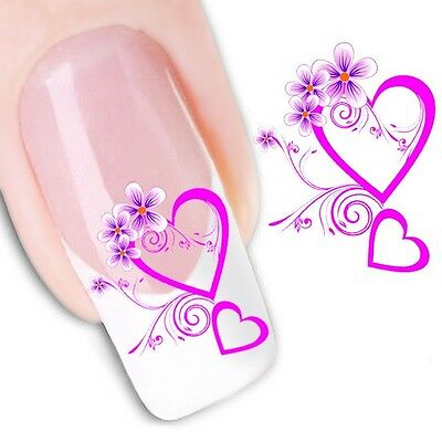 Nail Art Sticker Water Decals Transfers Pink Hearts (XF1206)