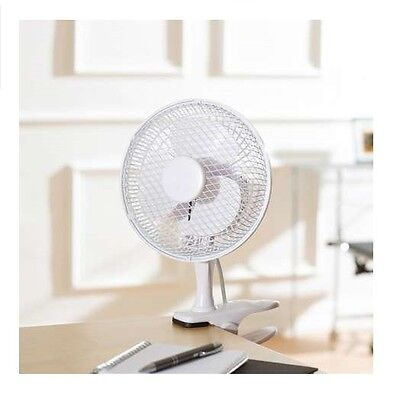 """6"""" Inch Small Desktop Clip On Portable Fan Table Desk Air Cooling 2 Speed"""