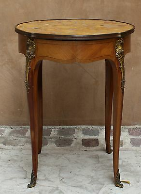Magnificent 19C French Round Center Table/ Side Table Bronze Marble Top Table