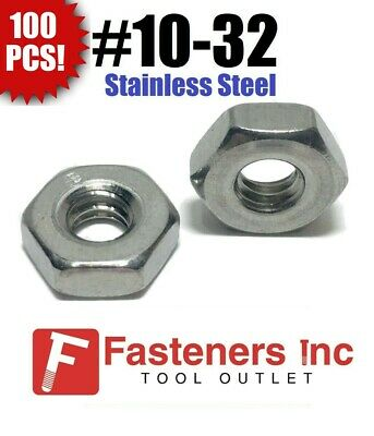 (Qty 100) #10-32 Stainless Steel Finish Hex Machine Screw Nut
