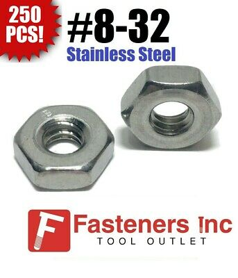 (Qty 250) #8-32 Stainless Steel Finished Hex Nuts 304 / 18-8
