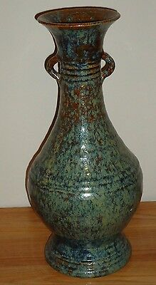 "Pottery VASE or URN Large 15.75""H speckled brown and Blue Gray NICE"