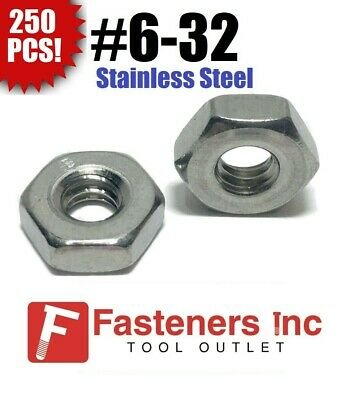 (Qty 250) #6-32 Stainless Steel Finish Hex Machine Screw Nut