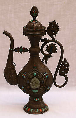 MAGNIFICENT 18c  CHINESE JADE STONE  SILVER EWER ESTATE OF DAVID LETTERMAN