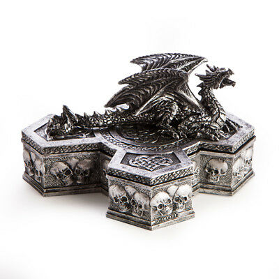 Dragon on Cross Statue Trinket Jewellery Box Gothic Skull Fantasy