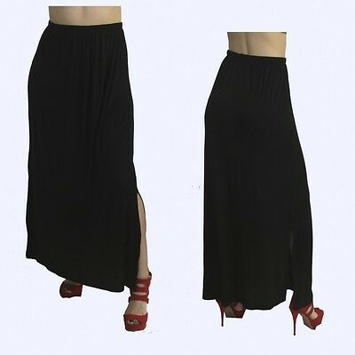 Black  Maternity Pregnancy Skirt Womens Below Knee Open Leg Solid Women S M L XL