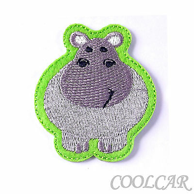DIY Embroidered Motif Cloth Applique Iron On Patch Sew ClothingDecorations Hippo