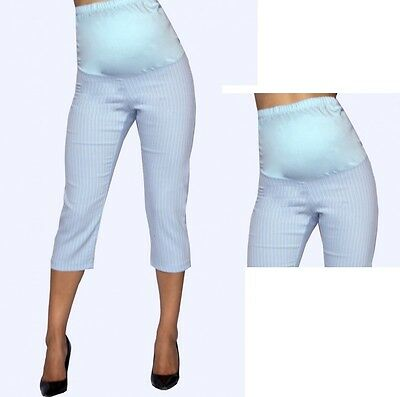 09e497b6eb355 Maternity Elastic Band Light Blue Cropped Capris Pants Bottoms Stripped S M  L XL