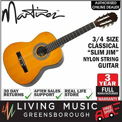 NEW Martinez Beginner 3/4 Size Slim Neck Classical Nylon String Guitar (Amber)