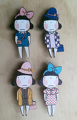 Wooden laser cut brooch- quirky fashion girl, cute vintage style