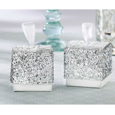 10pcs Silver Glitter Paper Candy Gift Boxes With Ribbon Wedding Party Favor