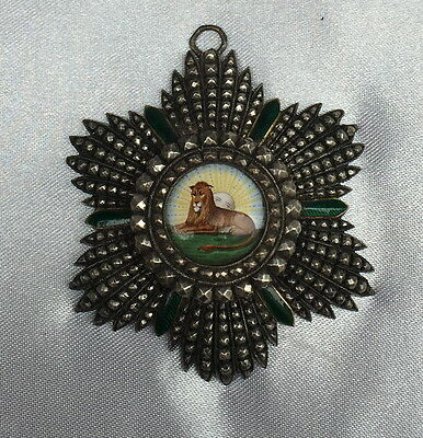 Magnificent Qjar Enameled Silver Persian Medal Of Honor