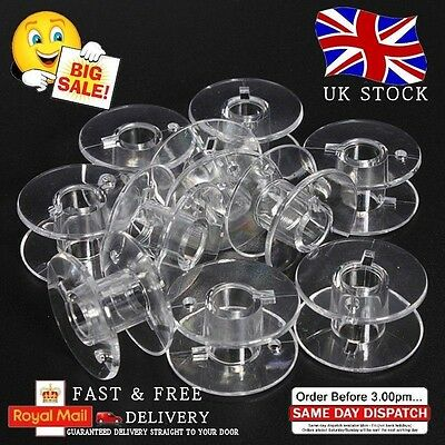 10 Clear Bobbins - Sewing Machine Plastic Spool Fits Brother Janome Singer