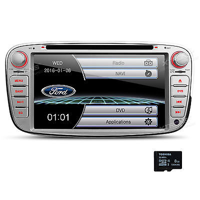 """7"""" Silver Car DVD Player GPS Stereo Radio Bluetooth For Ford Focus Mondeo Galaxy"""
